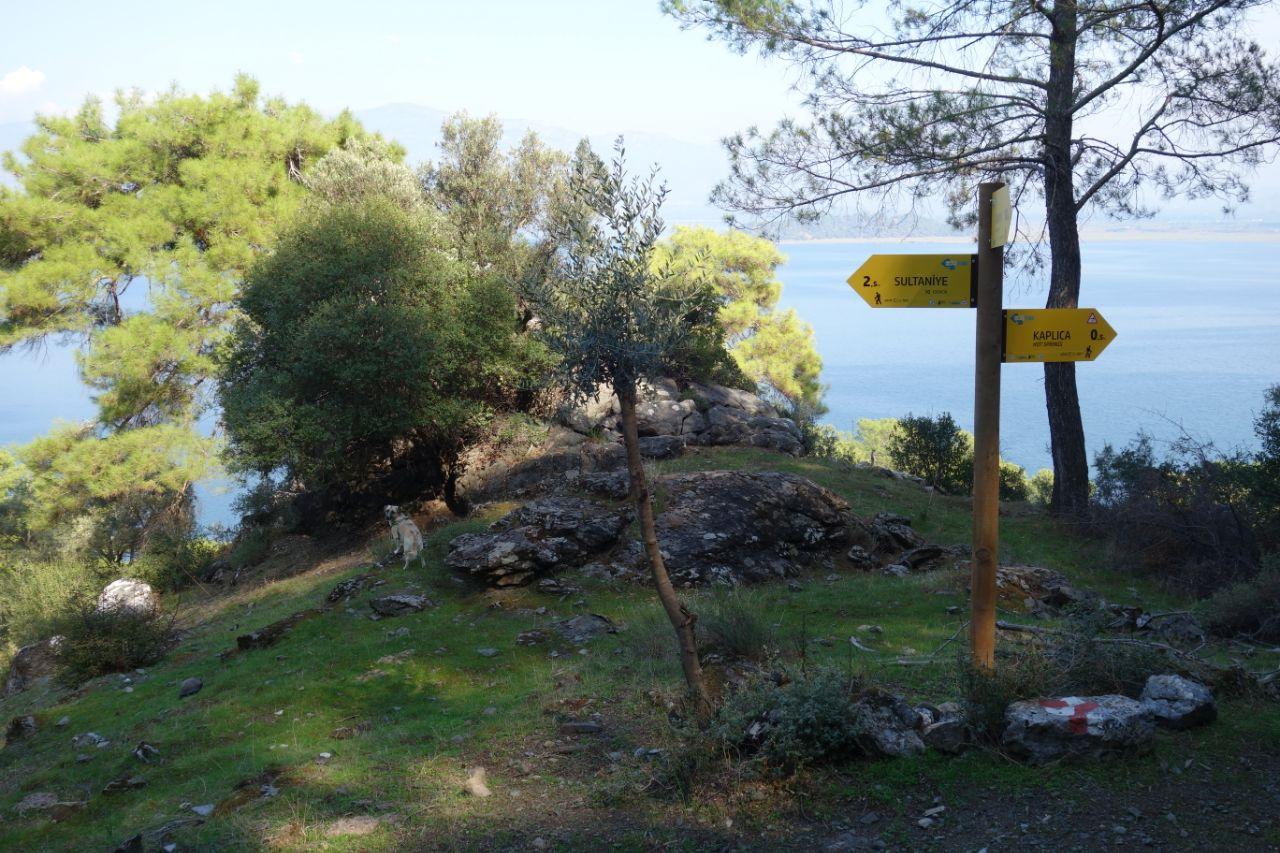 ECO trails wegwijzer wandelen Dalyan Sultaniye