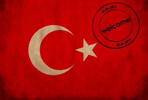 Visum aanvragen Turkije vlag met stempel welkom