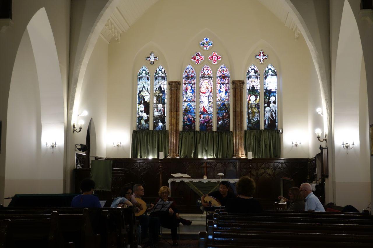 muzikale repetitie in kapel