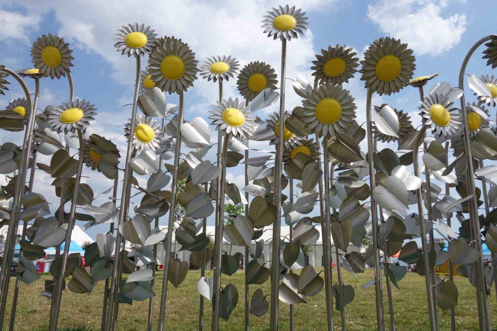 Kunstwerk van meer dan twintig stalen zonnebloemen met een geel hart