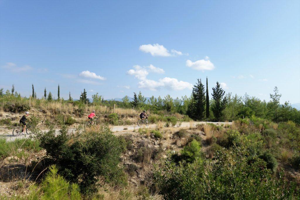 Fietsen in Turkije over een pad dat licht omhoog gaat met allerlei planten naast het pad